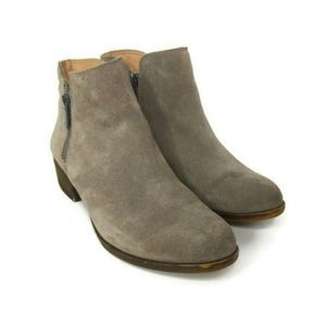 Lucky Brand Breah Beige Suede Leather Ankle Boots